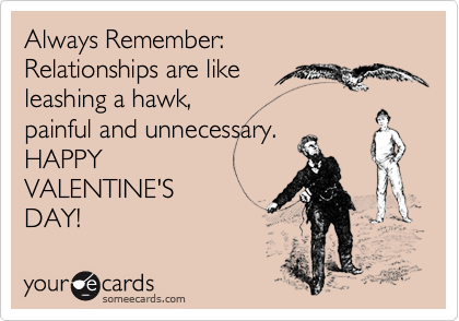 Always Remember:  Relationships are like  leashing a hawk, painful and unnecessary.  HAPPY VALENTINE'S DAY!