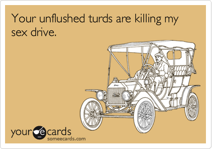 Your unflushed turds are killing my sex drive.