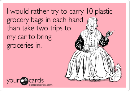 I would rather try to carry 10 plastic grocery bags in each hand than take two trips to my car to bring groceries in.