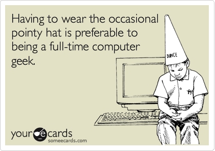 Having to wear the occasional pointy hat is preferable to being a full-time computer geek.