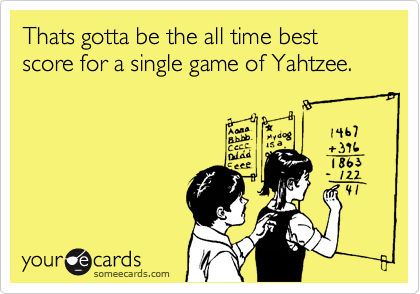 Thats gotta be the all time best score for a single game of Yahtzee.