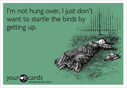 I'm not hung over, I just don't want to startle the birds by getting up.