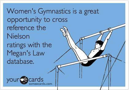 Women's Gymnastics is a great opportunity to crossreference theNielsonratings with theMegan's Lawdatabase.
