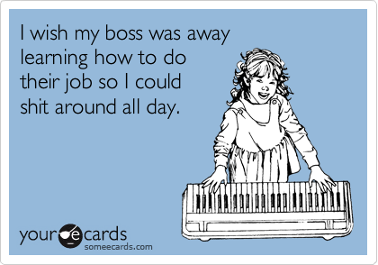 I wish my boss was away learning how to do their job so I could shit around all day.