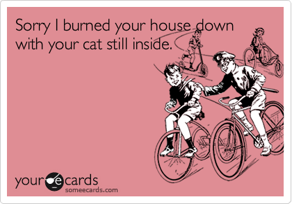 Sorry I burned your house down