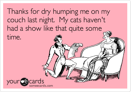 Thanks for dry humping me on my couch last night.  My cats haven't had a show like that quite some time.