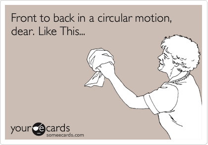 Front to back in a circular motion, dear. Like This...