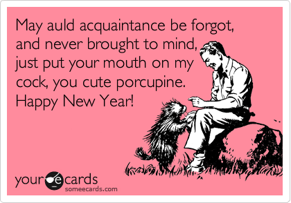 May auld acquaintance be forgot, and never brought to mind,  just put your mouth on my cock, you cute porcupine. Happy New Year!