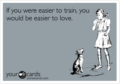 If you were easier to train, you