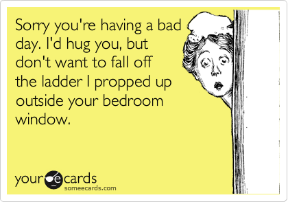 Sorry you're having a bad day. I'd hug you, but  don't want to fall off  the ladder I propped up  outside your bedroom window.