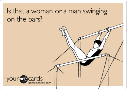 Is that a woman or a man swinging on the bars?
