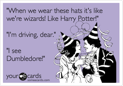 """""""When we wear these hats it's like we're wizards! Like Harry Potter!""""""""I'm driving, dear.""""""""I seeDumbledore!"""""""