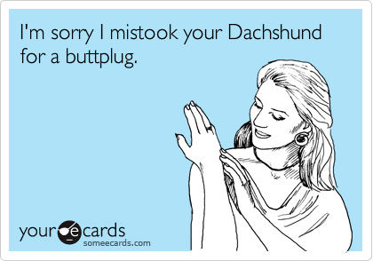I'm sorry I mistook your Dachshund for a buttplug.