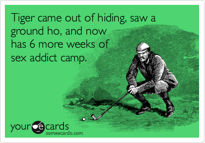 Tiger came out of hiding, saw a ground ho, and now  has 6 more weeks of  sex addict camp.