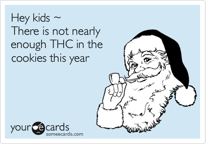 Hey kids ~ There is not nearlyenough THC in thecookies this year