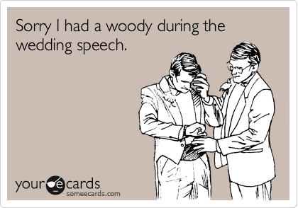 Sorry I had a woody during the wedding speech.