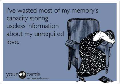 I've wasted most of my memory's capacity storinguseless informationabout my unrequitedlove.