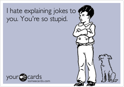 I hate explaining jokes to