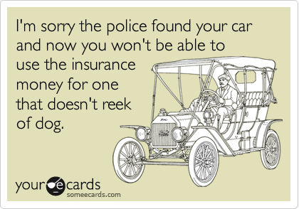 I'm sorry the police found your car and now you won't be able touse the insurancemoney for onethat doesn't reekof dog.