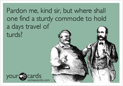 Pardon me, kind sir, but where shall one find a sturdy commode to hold a days travel of