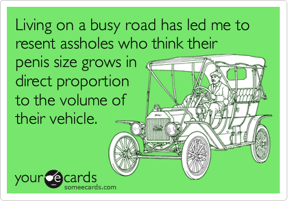 Living on a busy road has led me to resent assholes who think their