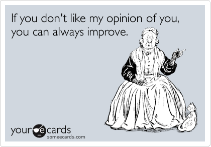 If you don't like my opinion of you, you can always improve.