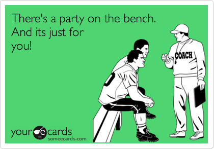 There's a party on the bench.