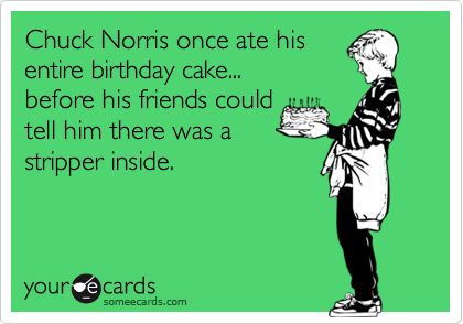 Chuck Norris Once Ate His Entire Birthday Cake Before His – Chuck Norris Birthday Card