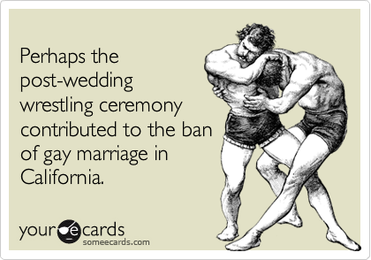 Perhaps thepost-weddingwrestling ceremonycontributed to the banof gay marriage inCalifornia.