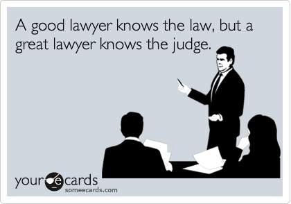 a good lawyer knows the law but a great lawyer knows the judge