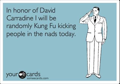 In honor of DavidCarradine I will berandomly Kung Fu kickingpeople in the nads today.