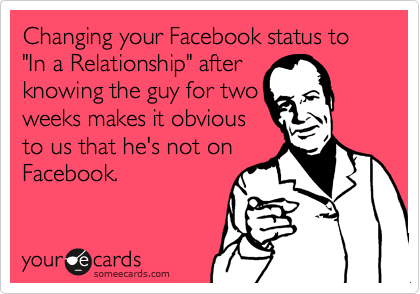 "Changing your Facebook status to ""In a Relationship"" after