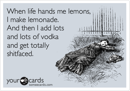 When life hands me lemons, I make lemonade.   And then I add lots  and lots of vodka and get totally shitfaced.