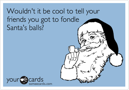 Wouldn't it be cool to tell your friends you got to fondleSanta's balls?