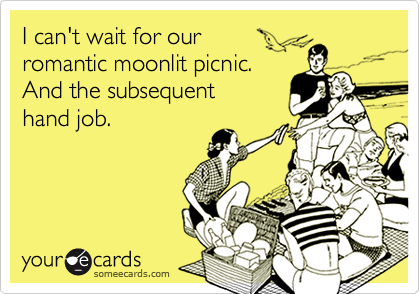 I can't wait for ourromantic moonlit picnic.And the subsequenthand job.