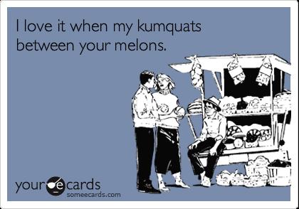 I love it when my kumquats between your melons.
