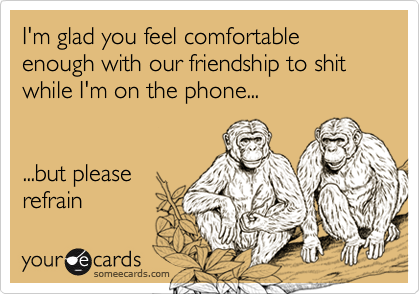 I'm glad you feel comfortable enough with our friendship to shit while I'm on the phone......but pleaserefrain