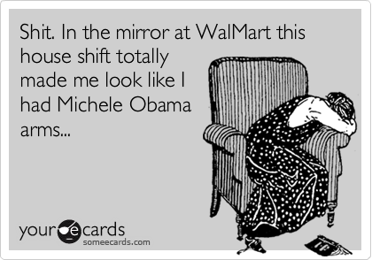 Shit. In the mirror at WalMart this house shift totally