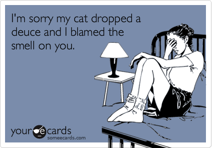 I'm sorry my cat dropped a deuce and I blamed the smell on you.