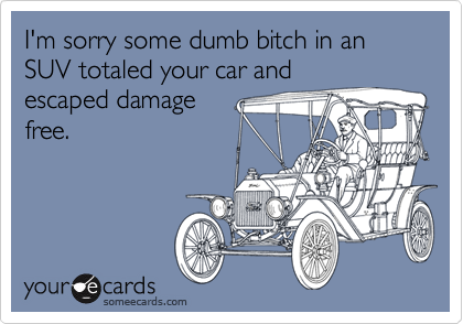 I'm sorry some dumb bitch in an SUV totaled your car andescaped damagefree.
