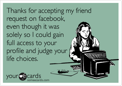 Thanks for accepting my friend request on facebook,