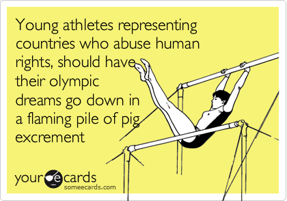 Young athletes representing countries who abuse human 