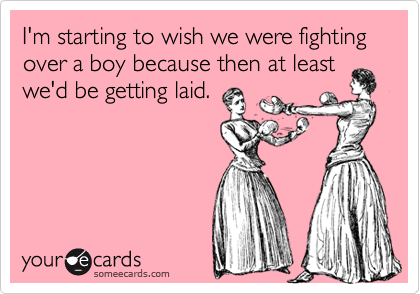 I'm starting to wish we were fighting over a boy because then at least