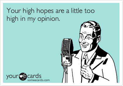 Your high hopes are a little too high in my opinion.