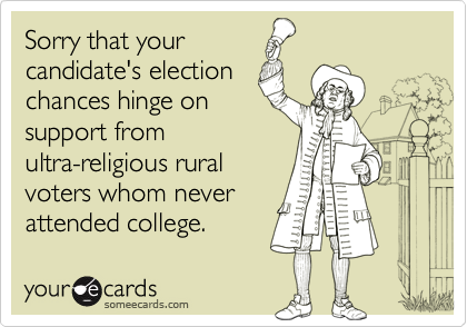 Sorry that yourcandidate's electionchances hinge onsupport fromultra-religious ruralvoters whom neverattended college.