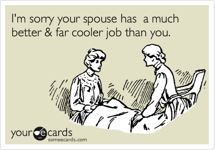 I'm sorry your spouse has  a much better & far cooler job than you.