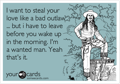 I want to steal your  love like a bad outlaw ... but i have to leave  before you wake up  in the morning. I'm  a wanted man. Yeah that's it.