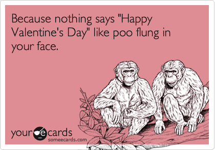 "Because nothing says ""Happy Valentine's Day"" like poo flung in your face."