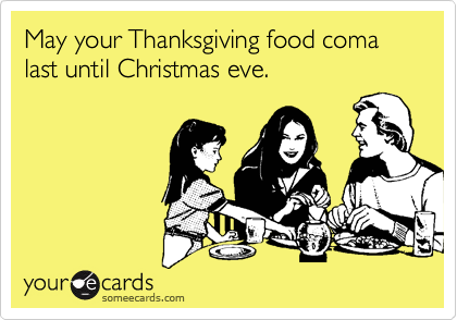May Your Thanksgiving Food Coma Last Until Christmas Eve