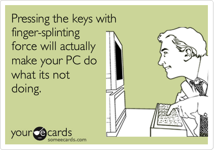 Pressing the keys with